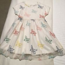 NEW HANNA ANDERSSON DRESS SZ 6 IVORY WITH TULLE BIRD DESIGN