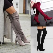 Las mujeres otoño invierno sobre los zapatos de la rodilla Botas de tacón