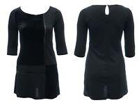 Womens Size 14-20 Velvet Dress Black Ponte Bead Trim Goth Hints Ex Highstreet