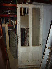 "19th century COUNTRY farmhouse ANTIQUE white door GLASS panels 79"" x 31"" x 1.5"""