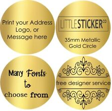 GOLD Wedding Stickers Personalised CIRCLE envelope Seals labels x50