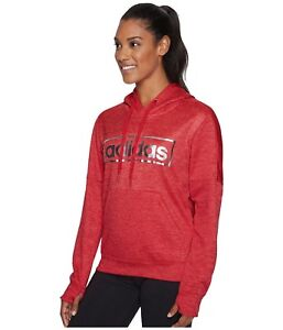 NWT* ADIDAS METALLIC GRAPHIC WOMEN'S HOODIE SWEATSHIRT RED METAL CG0926 HOODY