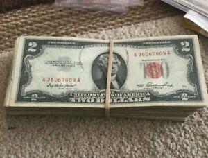 Old Money Lot ($750 FACE VALUE) Most 1953 $2 Dollar Legal Tender Fair/Poor Circ.
