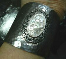 Lois Hill Carved Mother of Pearl Wide Cuff Bracelet