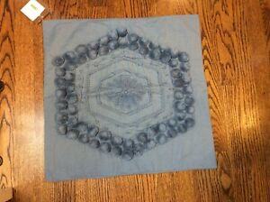 "NEW Pottery Barn Pom Pom Medallion Embroidered 20x20"" Pillow Cover-Chambray Blue"