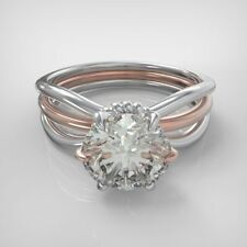 Certified 1.00cts Moissanite Triple Rail Engagement & Wedding Ring 14kt Gold