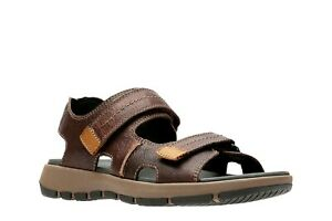 NEW MENS CLARKS BRIXBY SHORE BROWN LEATHER STRAP COMFORTABLE FISHERMAN SANDALS