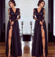 Women Elegant Maxi Dress Long Sleeve V-Neck Evening Party Lace Floral Split Sexy