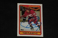 THEO FLEURY 1990-91 TOPPS SIGNED AUTOGRAPHED CARD #386 CALGARY FLAMES