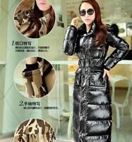 Fashion Ladies Fur Hooded Puffer Thicken Long Coat Winter Warm Duck Down Jacket