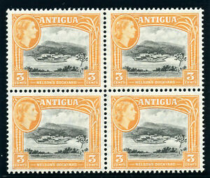 Antigua 1961 QEII 3c black & yellow-orange in block of four superb MNH. SG 123a.