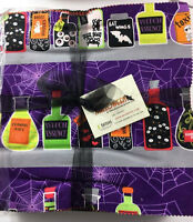 "Halloween  42- 10"" squares *Fabric Layer Cake 100% Cotton, Quilting 🎃👻💀👿🤖🎃"