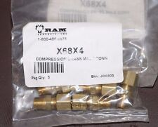 """Lot 5 RAM BRASS COMPRESSION MALE CONNECT X68X4 1/4"""" TUBE, 1/8"""" MALE PIPE"""