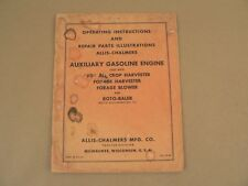 Allis Chalmers Auxiliary Gasoline Engine Owners Manual Parts List Catalog VTG