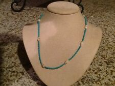 """Women's or girls aqua blue beads with Sea shell  necklace 17"""" long"""