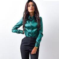 Slim Fit Satin Blouse Women's Work Professional Button Dress Shirt