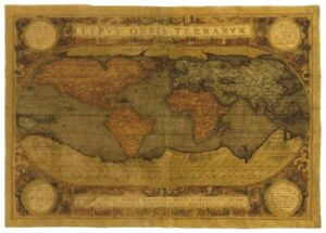 """MAPPEMONDE ANTIQUE MAP OF THE WORLD 54 X 78"""" 138CM X 198CM TAPESTRY WALL HANGING"""