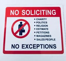 No Soliciting Sign Vinyl Decal. Buy 3 Get 1 Free! Fast Shipping!