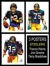 3 Posters Steelers Bradshaw Greene Harris Football Print Wall Art 18x24