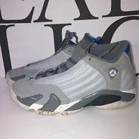 Nike 487524-004 Air Jordan 14 Retro Blue Wolf Gray Sport Shoes Boys Size 5.5y