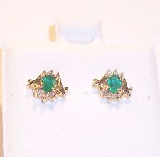 14K EMERALD/DIAMOND FANCY STUD EARRINGS ESTATE CLEARANCE CLOSEOUT SALE BUY NOW