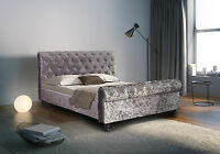 Luxurious Padded Crushed Velvet Sleigh Bed 4FT6 5FT Mattress Options