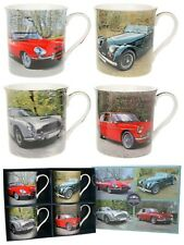 Set Of 4 China Mugs - Classic Car Gift Boxed - Leonardo Collection - Tea Coffee