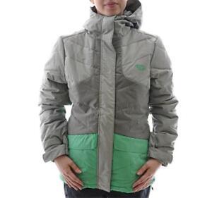 Rip Curl FIZZ PUFFER Womens Size M Grey Green Waterproof Snow Board Ski Jacket