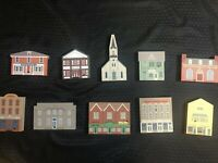 Cats Meow Village 1993 Series XI Set Vintage Wood Collectible Decor Lot Of 10