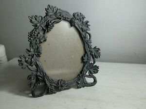 Pewter miniature picture frame. Grapevine.