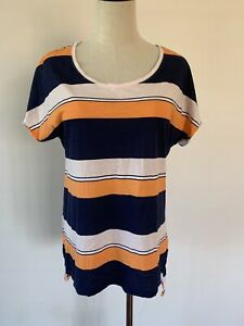 Country Road Womens Navy Blue And Orange Striped Scoop Neck Cotton T Shirt Top S