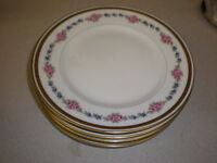 "Set of 5 B & C LIMOGES 7 1/4"" Dessert Plates - Pink Roses w/Gold Trim"
