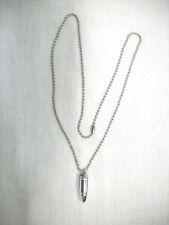 """STAINLESS STEEL SOLID 3D REALISTIC LOOK BULLET PENDANT 22"""" BALL CHAIN NECKLACE"""