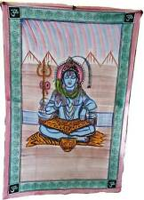 Lord Shiva Hand Painted Hindu Om Indian TAPESTRY Hippie Wall Hanging Bedspread