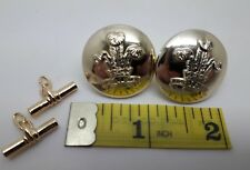 2 Staybrite Bands of the Prince of Wales BUTTONS with cufflinks fittings Gaunt