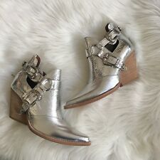 Jeffrey Campbell x Free People Silver Icon Western Boots Sz 9/10 Mismatched New