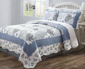 Legacy Decor 3 PCS Quilt Bedspread Blue and White Floral Patchwork Design
