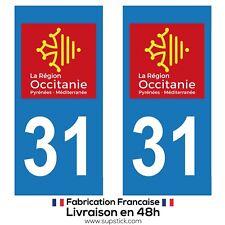 2 STICKERS AUTOCOLLANT PLAQUE IMMATRICULATION DEPARTEMENT 31 REGION OCCITANIE