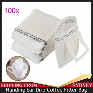100x Portable Handing Ear Drip Coffee Filter Paper Bag for Travel Home Office AU