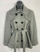 WOMENS NEXT LIGHT GREY DOUBLE BREAST BUTTON & BELT CASUAL JACKET COAT SIZE UK 12