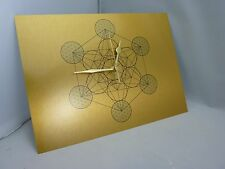 Metatron Cube -Sacred Geometry, silent-Swoosh WALL CLOCK on Gold Brushed Metal