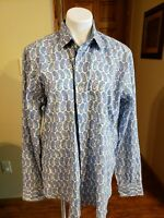 BUGATCHI UOMO Men's Button Front Shirt Blue Paisley Print Size Large 100% Cotton