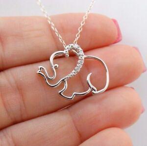 Elephant Necklace - 925 Sterling Silver - CZ Elephants Trunk Up Pendant Jewelry