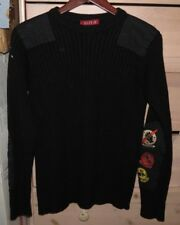 Replay Black Wool Military Crewneck Sweater Size Small Made in Italy