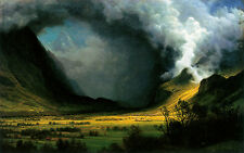 "Storm in the Mountains by Albert Bierstadt Fine Art Giclee Canvas Print 10""x16"""