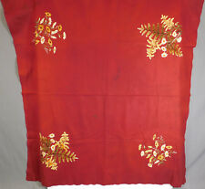 Victorian Antique Burgundy Red Felt Wool Daisy Chenille Embroidered Tablecloth