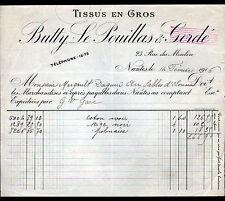 "NANTES (44) TISSUS en gros ""BUTTY & LE POUILLAS"" en 1916"