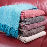 Fair Trade Herringbone Cotton Single Double Bedspread Sofa Throw Arm Chair Cover