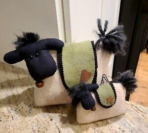Handmade Felt Wool Sheep Door Stopper and Matching Door Handle Hanger . Cute!