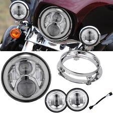 "7"" LED Daymaker Angle Eye Headlight Passing Light Fit Harley Street Glide FLHX"